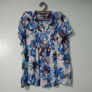 Croft & Barrow blue floral top extra large
